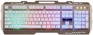 BOXIANGY Keyboard Wired Notebook Computer Manipulator Feel Metal Luminous Gaming Keyboard Golden.