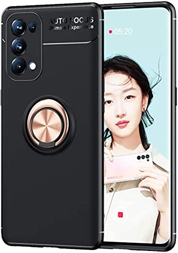 PIXFAB Funda para Oppo Find X3 Lite, antiarañazos, a prueba de golpes, de goma de gel [protector], anillo magnético [Kickstand] con [rotación 360] para Oppo Find X3 Lite - oro rosa