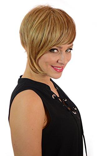 Perruque Lace Front Courte Avec Longue Frange Asymétrique Blond Plume/Dans le style de Frankie Sandford