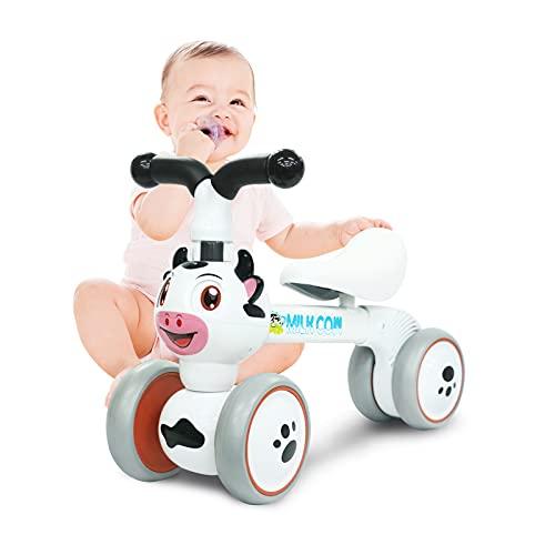 XIAPIA Bicicleta sin Pedales para Niños, Bicicleta Bebe 1 Año Bicicleta Equilibrio 1 Año Bicicleta Infantil sin Pedales de Forma Animal Lindo de Abeja de Regalo Favorito del Niño (Vaca)