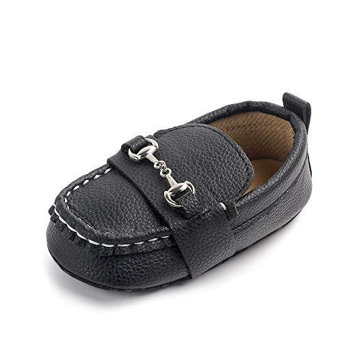 Quernn Baby Loafers Infant Toddler Boys Girls Prewalker Moccasin Crib Shoes(301 6-12 Months Black)