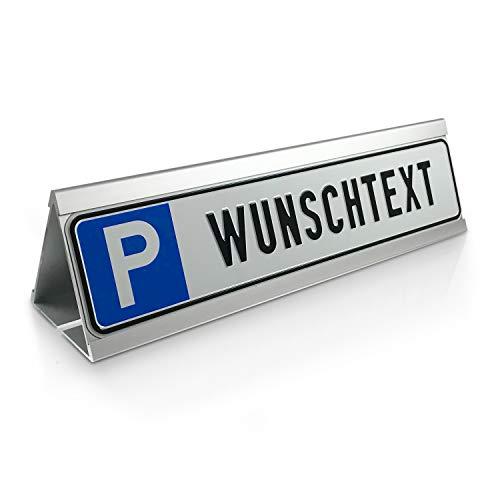 Betriebsausstattung24® Individuelles Parkplatzschild mit Wunschtext & Parkplatzbegrenzung | Parkstop | Aluminium | 52x11 cm