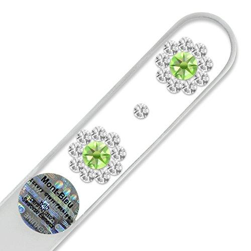 Lime à ongle en verre ornées à la main de cristaux de Swarovski Elements, pochette en velours noir   Véritable verre trempé tchèque, garantie à vie, Lime à ongles fait main en cristal