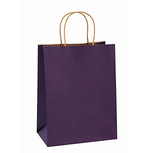 BagDream Gift Bags 8x4.25x10.5 Inches 100Pcs Paper Bags with Handles Bulk, Shopping Bags Kraft Bags Retail Bags Craft Bags 100% Recyclable Paper Gift Bags Purple