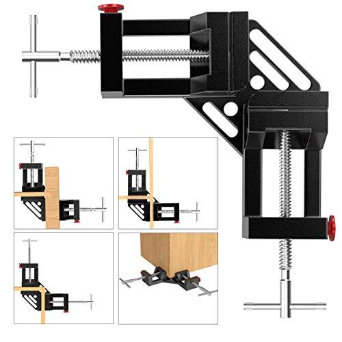 Housolution Rechtwinklig Klemme, 2 Stück 90 Grad Doppelgriff Aluminiumlegierung Eckklemme, Rechtwinklig Winkelspanner Eckzwinge mit verstellbar Schwenkbacke für Holzbearbeitung Fotorahmen - Schwarz