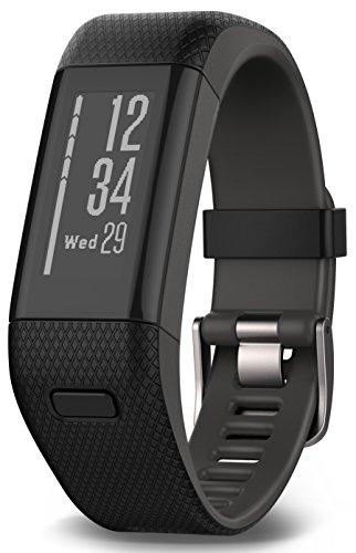 Garmin Vívosmart HR+ - Pulsera de actividad con GPS, color Negro, Regular