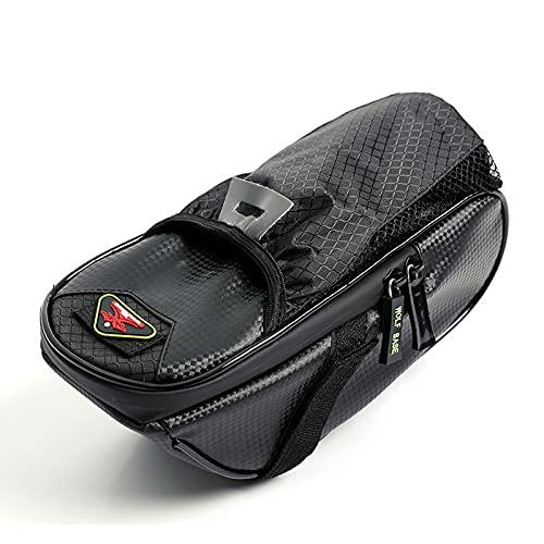 Bolsa para cuadro de bicicleta,bolsa de cojín impermeable para ciclismo con luz trasera plegable y botella de agua,bolsa para botella de agua para ciclismo de montaña,gran capacidad 900ml,negro.