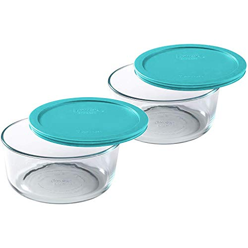 Pyrex Simply Store 7-Cup Round Glass Food Storage Dish, Turquoise Cover, 2 Pack