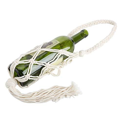 DAUERHAFT Cuerda de algodón Bolsa de Almacenamiento de Botellas Bolsa de Asas para Botellas Estilo artístico Fuerte y Duradero para el Almacenamiento de Vino para(Beige)