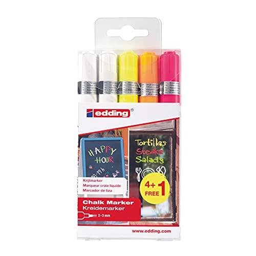edding 4095 - Kreide-Marker - weiß - Rundspitze 2-3 mm - 5er Set - Kreidestift (feucht abwischbar) für Tafel, Fenster, Glas, Spiegel, Whiteboard. Schreiben, Zeichnen, Handlettering