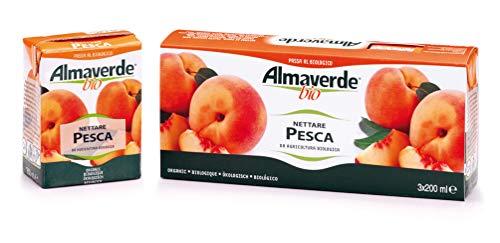 Almaverde Bio succo di frutta nettare alla pesca 200 ml. Confezione da 9 Brick.