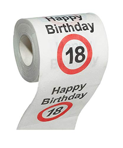 MIK funshopping Scherzartikel Deko Spaß-Toilettenpapier Runder Geburtstag lustiges Geschenk (18. Geburtstag)