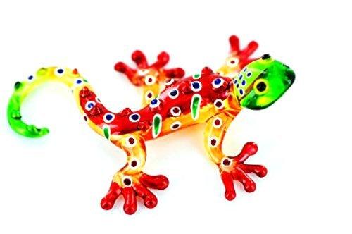 Gecko Gelb Rot Grün S - Glastier Roter Salamander Glas Figur S - Glasfigur Eidechse Lurch T