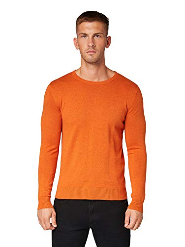 TOM TAILOR Herren Pullover & Strickjacken Schlichter Strickpullover Autumn orange Melange,M