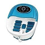 POKAR Baño de pies con masaje y calefacción 500W, baño de pies con burbujas con luz infrarroja, 8 rodillos de masaje, desconexión automática del baño de pies con burbujas para la relajación