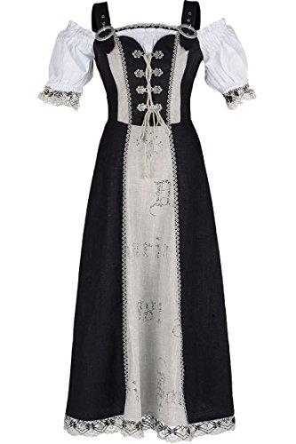 Fuchs Trachtenmoden Damen Landhauskleid Baumwolle \'Heidi\', schwarz, 46