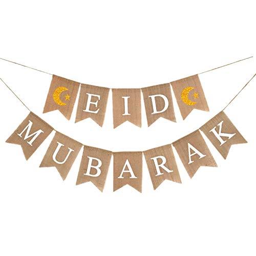 Yuncheng Eid Mubarak Banner Burlap -Eid Mubarak Banner Suministros con patrón de Luna y Estrella Musulmán Ramadán Celebración Decoración Guirnalda Mantel Chimenea Home Colgando Decoración