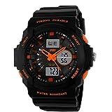 XKC-watches orologi da donna Dual Time Zone Bambini Outdoor Sports multifunzionale orologio da polso impermeabile 30 (Colore : Arancia, Taglia : Taglia unica)
