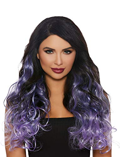 Dreamgirl Women's Long Curly Ombré Three-Piece Hair Extensions, Gun Metal/Lavender, One Size