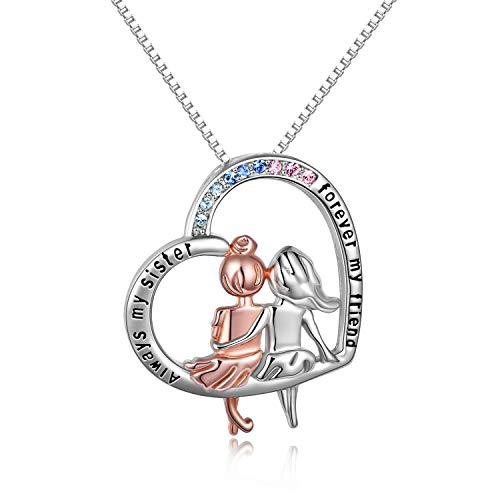 Sterling Silver Sister Necklace for Women'Always My Sister Forever My...