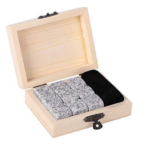 Whisky Stones - Set de regalo para beber, piedras de enfriamiento con caja de madera para los amantes de la cerveza, vino o bebidas, color blanco