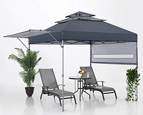 ABCCANOPY 3x3M Pop Up Gartenpavillon 3-Tier Instant Canopy mit verstellbaren Doppelhalbmarkisen, Dunkelgrau