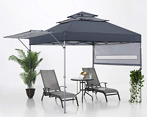ABCCANOPY 10x10 Pop up Gazebo Canopy 3-Tier Instant Canopy with Adjustable Dual Half Awnings, Deep Gray