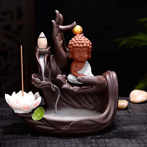 Carefree Fish Buddha Hand Staute Cermic Buda Decoration Home Decor Yoga Figurine Living Room Ornament (Incense Waterfall Burner No Wind) 60 Cones