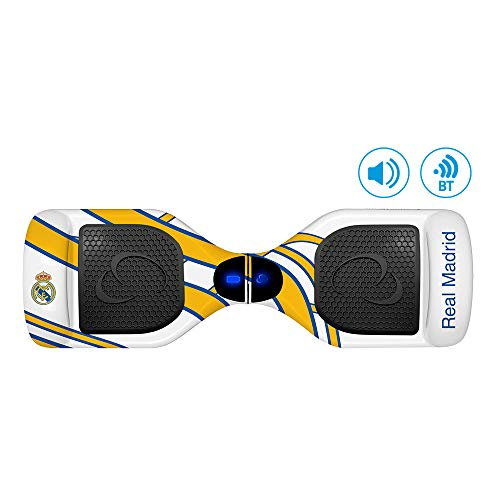 SMARTGYRO X2 Patinete Eléctrico Hoverboard, Bluetooth, Leds, Batería de Litio, Velocidad 10-12 Km/h, Edición Especial, Unisex Niños, Blanco, Real Madrid, 6.5 Pulgadas