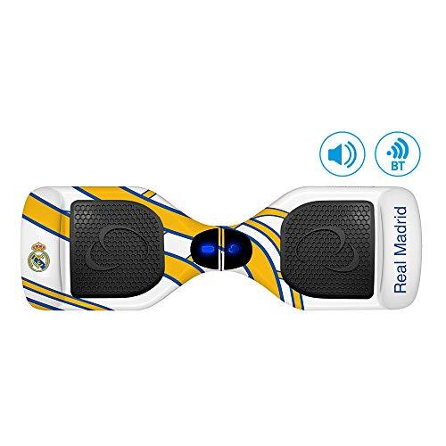 SMARTGYRO X2 Patinete Eléctrico Hoverboard, Bluetooth, Leds, Batería de Litio, Velocidad 10-12 Km/h, Edición Especial, Unisex Niños, Blanco (Real Madrid), 6.5 Pulgadas
