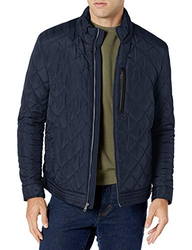 Cole Haan Signature Men's Diamond Quilted Jacket with Faux Sherpa Lining, Navy, X-Large