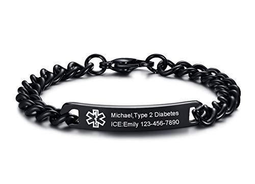 "VNOX Personlized Engraving-8MM Black Stainless Steel Medical Alert ID Tag Link Chain Bracelet,8.0"""