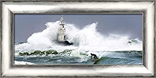 ArtDirect Extreme Surfer 24x12 Silver Contemporary Wood Framed Canvas Art by Anonymous