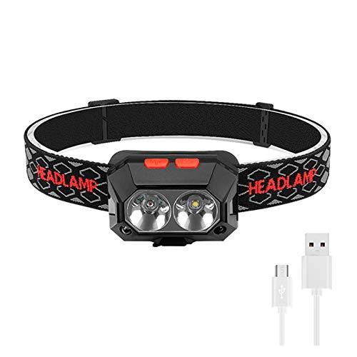 DONGMAISM XPG-2 LED Rojo LED Powerlamp Faro Recargable Cuerpo Movimiento Sensor Cabeza Flash Linterna Camping Antorcha Lámpara de luz con USB (Emitting Color : A Package)