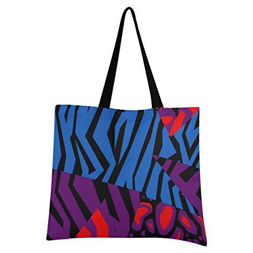 アートデジタル論理パズル再利用可能なショッピングバッグ食料品トートハンドバッグ環境にやさしいキャンバスポータブルストレージショルダーバッグ女性のための