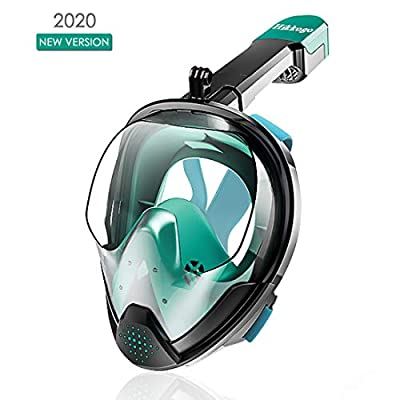 Hikkogo Snorkel mask, Full face Snorkel mask, Anti-Fog, Anti-Leak Foldable Safety Breathing System with Detachable Camera Mount Adjustable Head Straps 180° Panoramic View Ideal Gifts for Adult Youth