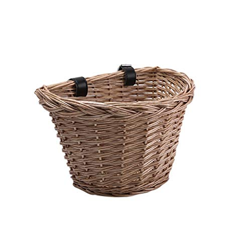 Wicker Portable D-Shaped Bike Basket, Hand-Woven Shopping Basket Folk Craftsmans