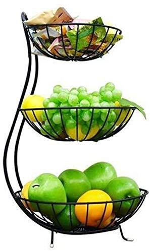 XT Estante de verduras Cesta de frutas y verduras, encimera, bastidor de frutas, placa de frutas de tres capas, cocina, plato de almacenamiento de hogar multifunción, contador de cocina, sala de almac