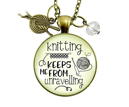 Gutsy Goodness 24' Knitter Necklace Keeps Me from Unravelling Jewelry Gift Yarn Charm