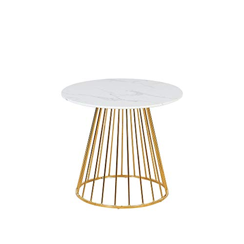 Verona Mesa de comedor redonda efecto mármol con patas de metal doradas, de 2 a 4 plazas, 80 x 80 cm, efecto mármol blanco