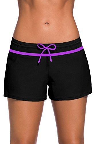 Aleumdr Womens Color Block Wide Waistband Swim Shorts Trunks Tankini Bottoms Boyshort Swimsuit Panty Large Size Black Purple