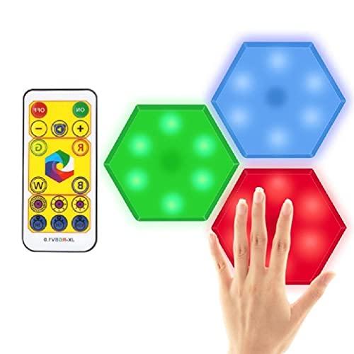 Luces hexagonales Luces de pared LED inteligentes Paneles de colores Empalme de geometría Luz de noche cuántica regulable con sensor táctil Luz de noche regulable para dormitorio para niños led la