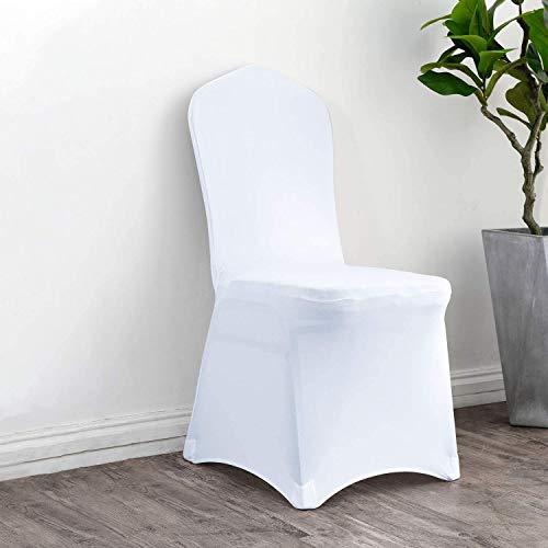 Namvo 10 fundas elásticas para silla de licra y licra, para bodas, banquetes y sillas, color blanco