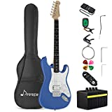 Donner DST-100T Solid Full-Size 39 Inch Electric Guitar Kit Lake Blue, with Amplifier, Bag, Capo, Strap, String, Tuner, Cable, Picks