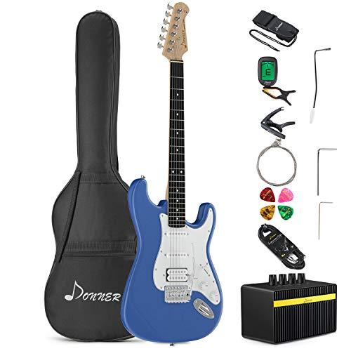 Donner E-Gitarre Set 39 Zoll mit Tasche, Capo, Gurt, Saiten, Kabel und Plektren (Blau, DST-100T)