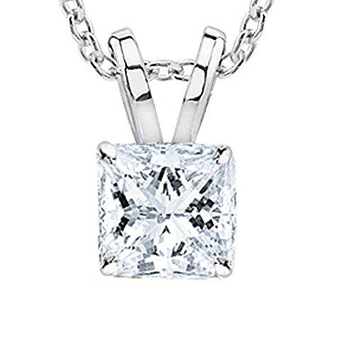 0.5 Carat Platinum Princess Diamond Solitaire Pendant Necklace D Color SI2 w/ 16