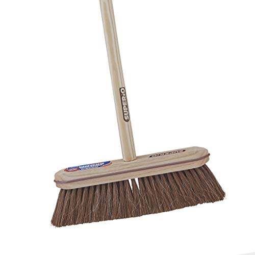 Superio Kitchen and Home Horsehair Broom With Wood Handle, Fine Premium Bristles - Heavy Duty Household Broom Easy Swiping Dust And Wisp Floors And Corners