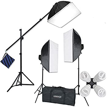 "StudioFX H9004SB2 2400 Watt Large Photography Softbox Continuous Photo Lighting Kit 16"" x 24"" + Boom Arm Hairlight with Sandbag H9004SB2 by Kaezi"