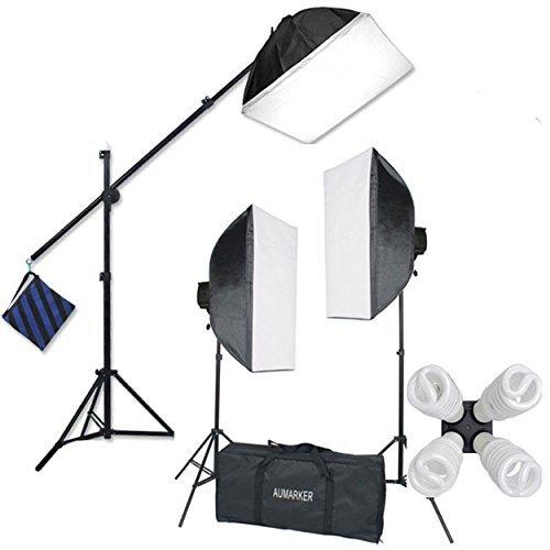 StudioFX H9004SB2 2400 Watt Large Photography Softbox Continuous Photo Lighting Kit 16  x 24  + Boom Arm Hairlight with Sandbag H9004SB2 by Kaezi