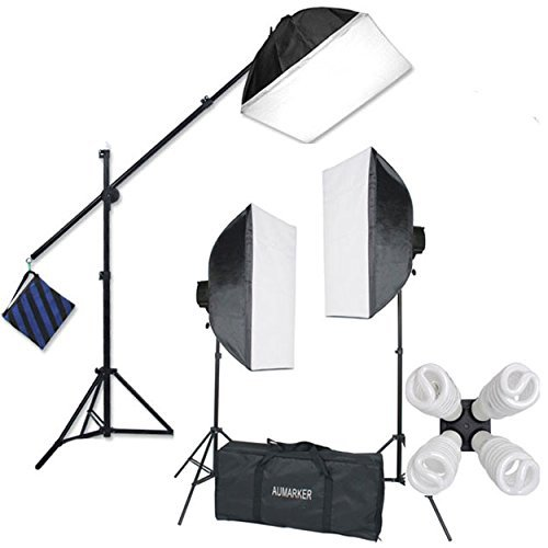 StudioFX H9004SB2 2400 Watt Large Photography Softbox Continuous Photo Lighting Kit 16' x 24' + Boom Arm Hairlight with Sandbag H9004SB2 by Kaezi